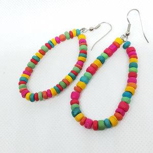 Vintage Rainbow Wood Bead French Hook Earrings